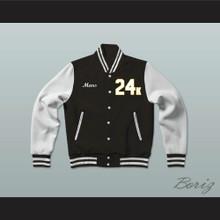 Hooligans 24 K Black and White Varsity Letterman Jacket-Style Sweatshirt