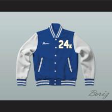 Hooligans 24 K Blue and White Varsity Letterman Jacket-Style Sweatshirt