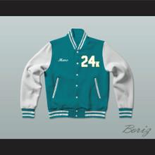 Hooligans 24 K Teal and White Varsity Letterman Jacket-Style Sweatshirt