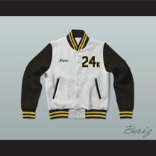 Hooligans 24 K White Black & Gold Varsity Letterman Jacket-Style Sweatshirt