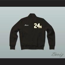 Hooligans 24 K Solid Black Varsity Letterman Jacket-Style Sweatshirt