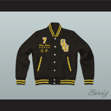 Stay Stone G.C.U. Black Varsity Letterman Jacket-Style Sweatshirt Cyborg