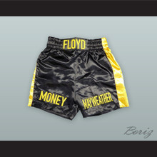 Floyd Mayweather Jr  Black and Gold Boxing Shorts