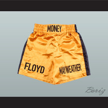 Floyd Mayweather Jr  Gold and Black Boxing Shorts