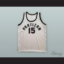 Drazen Dalipagic 15 KK Partizan Belgrade White Basketball Jersey