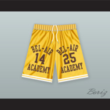 Carlton Banks 25/ Will Smith 14 Bel-Air Academy Yellow Basketball Shorts