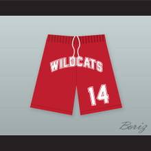 Troy Bolton 14 East High School Wildcats Red Basketball Shorts