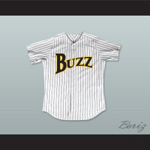 Billy 'Downtown' Anderson 8 Buzz White Pinstriped Baseball Jersey Major League: Back to the Minors