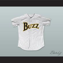 Carlton 'Doc' Windgate 35 Buzz White Pinstriped Baseball Jersey Major League: Back to the Minors