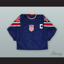 1932 Throwback Chris Chelios 24 USA National Team Dark Blue Hockey Jersey