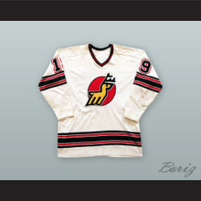 1974-75 WHA Alain Caron 19 Michigan Stags White Hockey Jersey