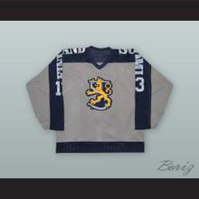 1980 Ismo Villa 13 Finland Soumi National Team Gray Hockey Jersey