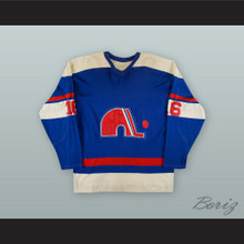 1973-74 WHA Andre Gaudette 16 Quebec Nordiques Blue Hockey Jersey