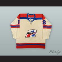 1977-78 WHA Bobby Sheehan 18 Indianapolis Racers White Hockey Jersey