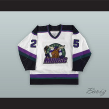 Stephane Morin 25 Minnesota Moose White Hockey Jersey