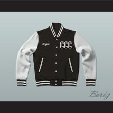 Kingpin Cartel Community College Black Varsity Letterman Jacket-Style Sweatshirt