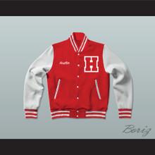 Hustler High School Red Varsity Letterman Jacket-Style Sweatshirt
