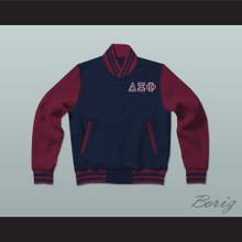 Delta Xi Phi Sorority Varsity Letterman Jacket-Style Sweatshirt
