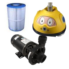 Swimming pool equipment, filters, heaters and pumps.