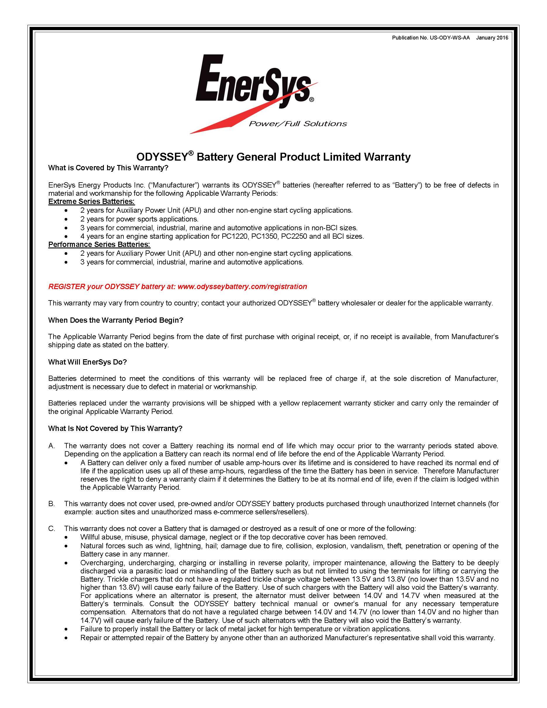Odyssey warranty batterystore warranty page 1g altavistaventures Choice Image