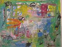"Boffill (Noel Guzman Boffill) #6651. ""Paisaje,"" 2017. Acrylic on canvas. 9.5 x 12 inches."