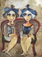 "Sandra Dooley #4236. ""Cabezonas,"" 2007. Mixed media collage on canvas. 19.75 x 15.75 inches."