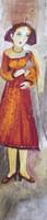 """Sandra Dooley #5234.  """"Edith,"""" 2009. Oil on canvas. 35.5 x 8 inches."""