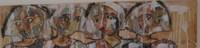 """Sandra Dooley #4463.  """"Todas,"""" 2010, mixed media/canvas, 8 x 35 inches."""