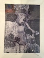 "Sandra Dooley #8069.  ""Bicicleta"" 2014. Collagraph, artist proof, 14 x 9.5 Inches."
