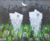 """Alazo - Alejandro Lazo #7010. """"Nubes pasajeras,"""" 2003. Acrylic on canvas. 8.5 x 10.5 inches."""