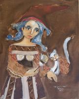 "Sandra Dooley #5139.  ""Brujas,"" 2009. Mixed media on canvas. 20.5 x 16.5 inches."