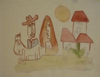 """Fuster (José Rodríguez Fuster) #31a. """"Cubanava,"""" N.D. Watercolor on paper. 15.5 x 20 inches."""