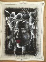 Faife (Yudit Vidal Faife) #6166. Untitled, 2016. Acrylic on fabric napkin. 16 x 12 inches.
