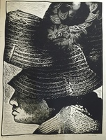 "Carballo (Oscar Carballo)  #119. ""De la serie los Guajiros,"" 1977. Linoleum print. 25 x 20 inches."