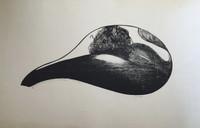 "Carballo (Oscar Carballo)  #120. ""El abrazo, 1980. Woodcut print edition 13 of 14. 20 x 29 inches."