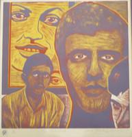 "Raúl Martínez #10. ""Tu recuerdo,"" 1977. Woodcut print edition 1 of 10. 13 x 12 inches."