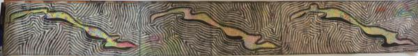 "Untitled, Ibrahim Miranda #5699. 2001. Ink on re-purposed atlas pages. 9.5"" x 78.5""."