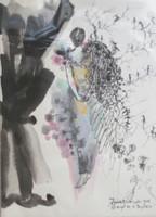 """Zaida Del Rio #814. """"El angel de la despedida,"""" 1992. Water color on paper 12 X 9 inches."""