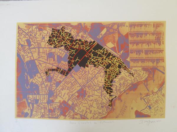 """Bebe cheetah en Estambul,"" Ibrahim Miranda #5665. 2011. Screen print edition 15 of 15. 22"" x 30""."