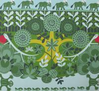 """El Estudiante (Luis Rodriguez Ricardo)  #7031. """"Las vacas verdes,"""" 2003. Silkscreen print edition 31 of 60.  20 x 21 inches."""