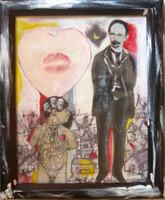 "Juan Karlos Echeverria Franco #7062. ""Los heroes,"" N.D. Mixed media, framed. 11 x 9 inches."