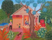 """Inciarte (Yunior Inciarte Santos) #7086. """" El patio de la costuturera"""" 2014. Oil on canvas, 13"""" x 17.5 inches."""