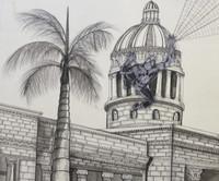 """Brito (Yamilys Brito Jorge) #5659. """"Visitante de la Habana, capitolio nacional,"""" 2012. Collage and Ink on paper, 15 1/8 x 17 1/4 Inches."""