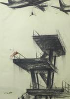 """Copperi (Luis Alberto Perez Copperi) #5601. """"El salto,"""" 2012. Charcoal on paper. 39.25 x 27.5 inches"""
