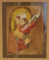 """Sandra Dooley #5560. """"Vilolin,"""" 2009, mixed media on canvas, 12"""" x 9 inches."""