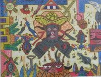 "Vilva (Elio Vilva-Trujillo) #5551. ""Eleggua, 2009. Mixed media on paper. 13.5 x 16 inches."