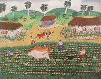 "Chuchi (Jesus Gonzalez)  #5384. ""Trabajando la tierra,"" N.D. Oil on canvas. 17 x 13.5 inches."