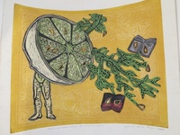 """Brito (Yamilys Brito Jorge) #6059. """"La media naranja,"""" 2007. Collage print, 15.5 x 17.5 Inches."""