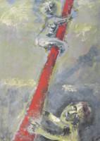 "Alazo - Alejandro Lazo #6202. ""La Asencion,"" N.D. Acrylic on paper. 28 x 20 inches."