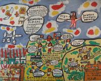 """Abel Perez-Mainegra #2073. """"Basureros de los pueblos del mundo,"""" 2000. Acrylic on paper. 17 x 21 inches."""